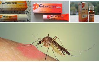 Gēla Fenistils no moskītu kodumiem: instrukcijas, atsauksmes un analogi